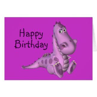 Childs Birthday Purple Dinosaur Card