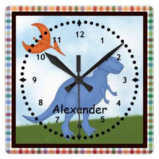 Child's Blue Dinosaur Wall Clock