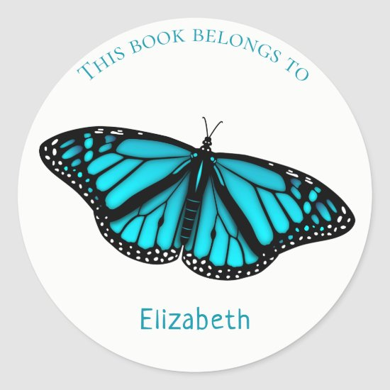 child's book label w teal turquoise blue butterfly