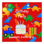 Child's Boy 3rd Birthday Party Dinosaur Red Announcements
