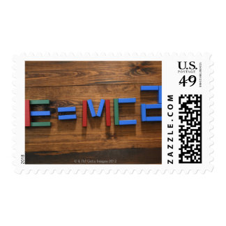 Child's building blocks arranged to show E=mc2 Postage