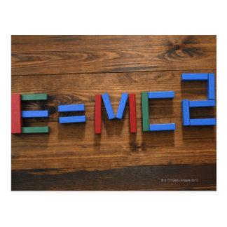 Child's building blocks arranged to show E=mc2 Postcard