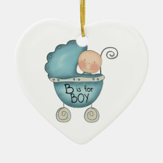 Child's Christmas B is for Boy Custom Text On Back Ceramic Ornament
