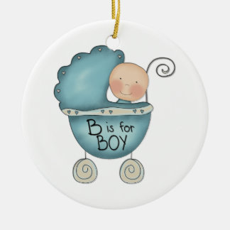 Child's Christmas B is for Boy Custom Text On Back Double-Sided Ceramic Round Christmas Ornament