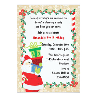 Child's Christmas Birthday with Santa Claus Card