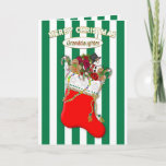 Child's Christmas Stocking - Granddaughter - Candy Holiday Card