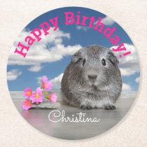 Child's Custom Birthday Party Guinea Pig Flowers Round Paper Coaster