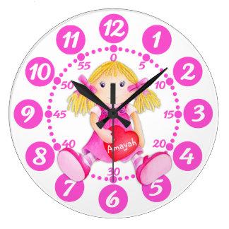 Child's cute rag doll heart art pink white clock