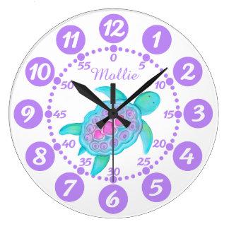 Child's cute turtle heart art purple white clock