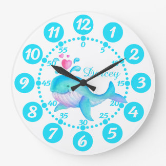 Child's cute whale spurting art aqua white clock