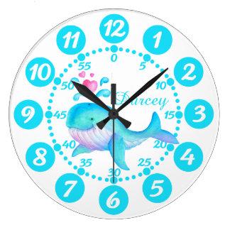 Child's cute whale spurting art aqua white clock