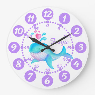 Child's cute whale spurting art purple white clock