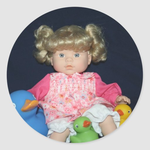 Childs Doll with Ducks Stickers