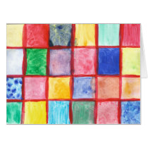 Child's drawing squares pattern card
