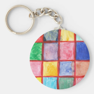 Child's drawing squares pattern keychain