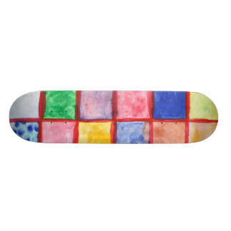 Child's drawing squares pattern skateboard