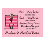 Child's Emergency Information Cards Letter M Business Card Template