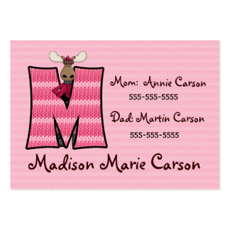 Child's Emergency Information Cards Monogram M Large Business Cards (Pack Of 100)