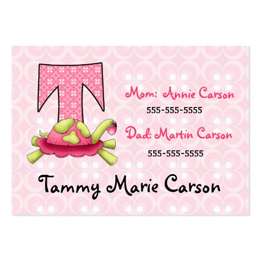 Child's Emergency Information Cards Monogram T Business Card