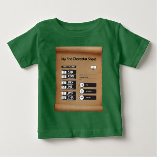 Child's first Character Sheet (age 2) green Baby T-Shirt