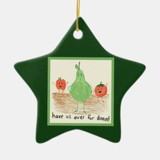 Child's Food Art, Green Ceramic Ornament