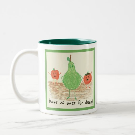 Child's Food Art, Green Coffee Mug