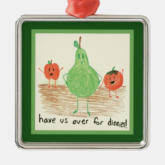 Child's Food Art, Green Metal Ornament