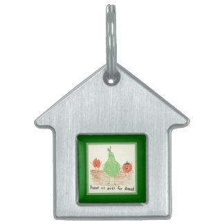 Child's Food Art, Green Pet ID Tag