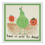 Child's Food Art, Green Poster