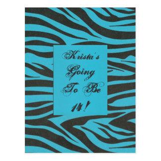 Child's Fun Zebra Stripe Jungle Birthday Party Postcard