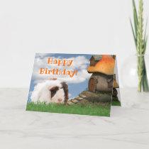 Child's Happy Birthday Guinea Pig Mushroom House Card