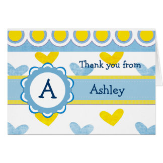 Child's Monogram and Hearts Thank You  Card