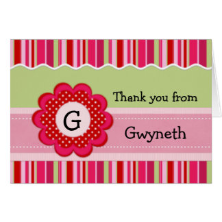 Child's Monogram and Stripes Thank You  Card