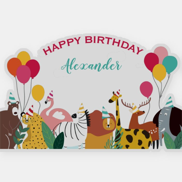 Party Hats and Balloons Personalized Birthday Banner