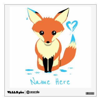 Child's Name Fox Painting Blue Heart Wall Decal