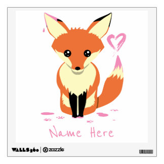 Child's Name Fox Painting Pink Heart Wall Decal