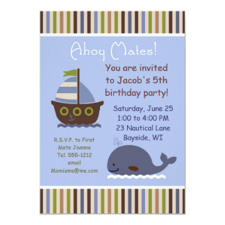 Child's Nautical theme Birthday party invitation