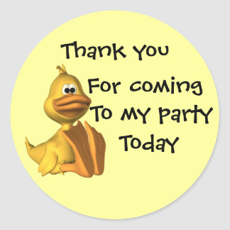 Childs Party Duck  Thankyou Stickers