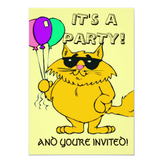 CHILD'S PARTY INVITATION (OR ADULT) COOL CAT W FUN