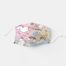 Child's Pink Unicorn Rainbow Star Cloth Face Mask