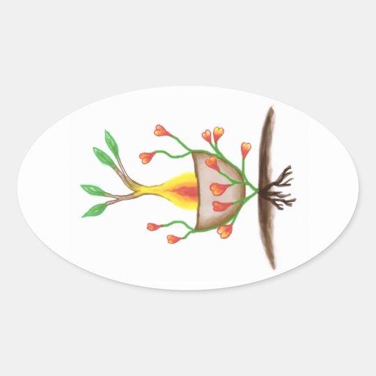 Child's Plant Art Oval Sticker