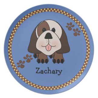 Child's Puppy Dog Personalized Melamine Plate