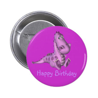 Childs Purple Dinosaur Birthday Button