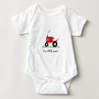 Child's Red Tractor T-Shirt: Customize Age Baby Bodysuit