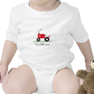 Child's Red Tractor T-Shirt: Customize Age