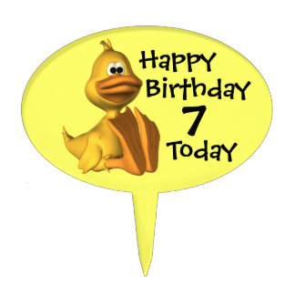 Childs Seventh Birthday Duck Cake Topper