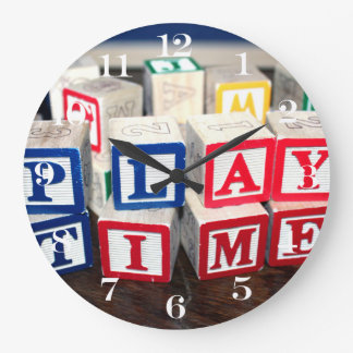 Childs Wooden Toy Blocks Wall Clock