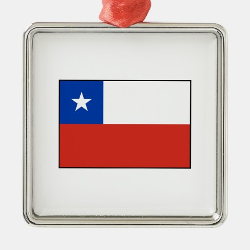 Chile - bandera chilena adorno cuadrado plateado