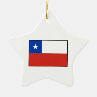 Chile - bandera chilena adorno de cerámica en forma de estrella