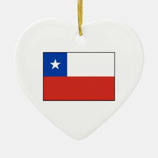 Chile - bandera chilena adorno de cerámica en forma de corazón